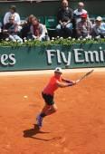 Giocatore professionista di tennis thanasi kokkinakis dell'australia in azione durante il suo match di terzo turno al roland garros 2015 — Foto Stock