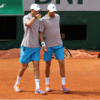 Grand Slam champions Mike and Bob Bryan of United States in action during second round match at Roland Garros 2015 — Stock Photo #76427081