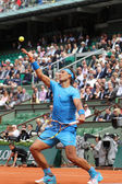 Fourteen times Grand Slam champion Rafael Nadal in action  during his  second round match at Roland Garros 2015 — Stock Photo
