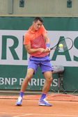 Professional tennis player Bernard Tomic of Australia in action his during first round match at Roland Garros — Stock Photo