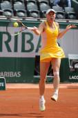 Professional tennis player Caroline Wozniacki of Denmark during her third round match at Roland Garros — Stock Photo