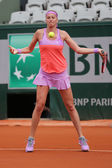 Two times Grand Slam champion Petra Kvitova in action during her second round match at Roland Garros 2015 — Stok fotoğraf