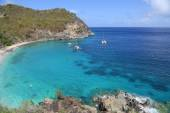 Ariel view of Shell beach at St. Barts, French West Indies — Stock Photo