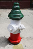 Water hydrant colored in green, white and red as Italian flag in Little Italy, New York — Stock Photo