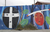 Mural art inspired by Patagonian history near Strait of Magellan ferry at Bahia Azul, Chile — Stock Photo