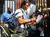 Fourteen times Grand Slam champion Rafael Nadal of Spain signing autographs after practice for US Open 2015 — Stock Photo