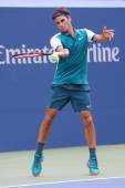Seventeen times Grand Slam champion Roger Federer of Switzerland in action during his first round match at US Open 2015 — Stock Photo