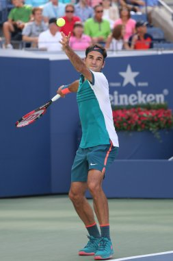 Seventeen times Grand Slam champion Roger Federer of Switzerland in action during his third round match at US Open 2015