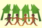 Paper Men Chain, Go Green Concept — Stock Photo