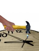 Hammer in Human Hand Hitting Nail in Clock, Concept — Stock Photo