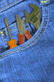 Work tools in Jeans Pocket — Stock Photo