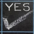 Yes word handwritten on black chalkboard — Stock Photo #57957763