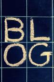 Blog word handwritten on a blackboard — Stock Photo