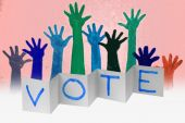Human Raised hands with VOTE word, Concept — Stock Photo