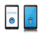 Blue bird in ndroid phone — Wektor stockowy