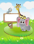 Animals cartoon with blank text box and nature background — 图库矢量图片
