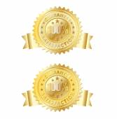 100 guarantee gold with emboss and ribbon — Vector de stock