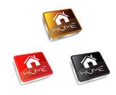Square Home Button — Stock Vector