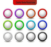 Round Colorful Glossy Icons — Stock Vector