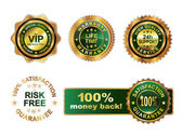 Golden green badges guarantee — Stock Vector