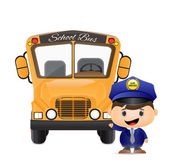 School bus and bus driver illustration — Stock Vector