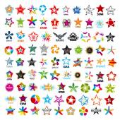 Biggest collection of vector logos five-pointed stars — Stock Vector