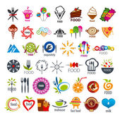 Biggest collection of vector logos food — Stock Vector