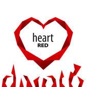 赤いリボンのロゴ心 — ストックベクタ
