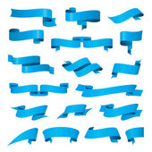 Biggest collection of vector blue ribbons — Stock Vector