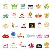 Biggest collection of vector logos crown — Stock Vector
