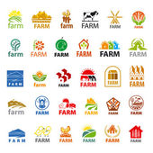 Large set of vector logos farm — Stock Vector