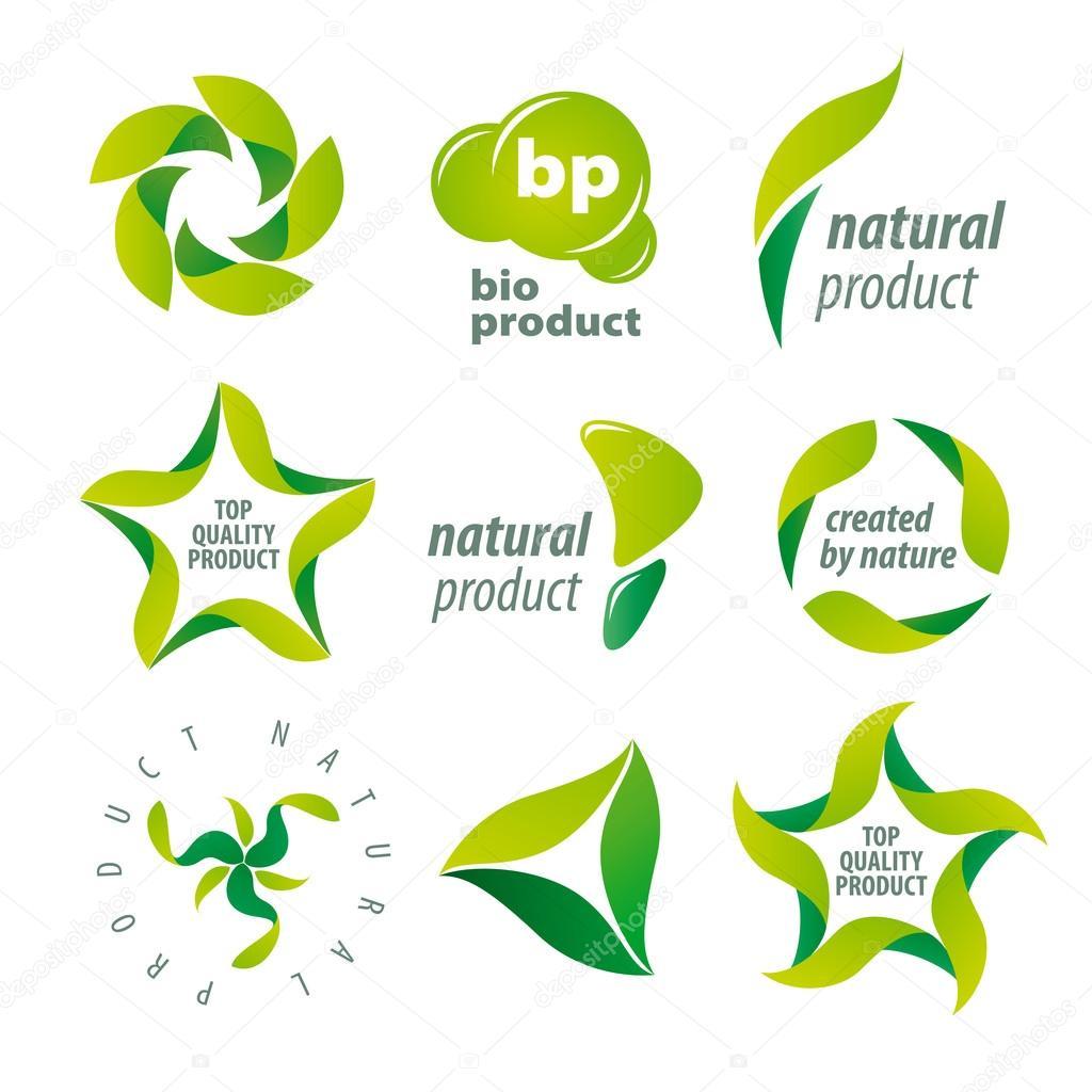 Natural Food Logo Set of Vector Logos For Organic Natural Products Vector by Artbutenkov