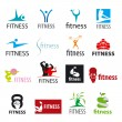 Set of vector logos fitness and sports — Stock Vector #58870199