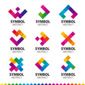Biggest collection of vector logos of abstract modules — Stock Vector