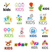 Biggest collection of vector logos children — Stock Vector