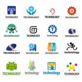 Biggest collection of vector logos technology — Stock Vector