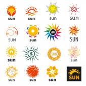 Big set of vector logos sun — Stock Vector
