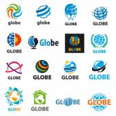 Biggest collection of vector logos globes — Stock Vector