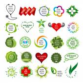 Biggest collection of vector logos natural health — Stock Vector