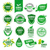 Big set of vector logos natural products without GMOs — Stock Vector