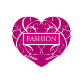 Vector logo fashionable heart of patterns — Cтоковый вектор