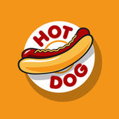 Vector logo hot dog for fast food — Stock Vector