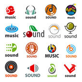 Big set of vector logos sound and music — Stock Vector