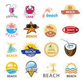 Maior coleção de praia vetor de logotipos, palmeiras, mar — Vetor de Stock