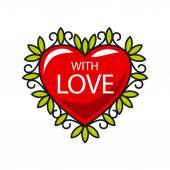Vector logo red heart in floral ornament — Stock vektor