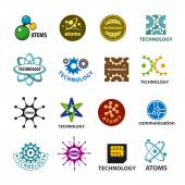 Biggest collection of vector logos technology and atoms — Stock Vector