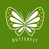 Vector logo delicate butterfly on a green background — Stock Vector