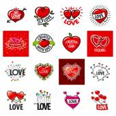 Big set of vector logos heart — Stock Vector