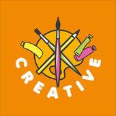 Vector logo brush and palette for creativity — Stock Vector