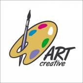 Vector logo brush and palette for art — Stock Vector